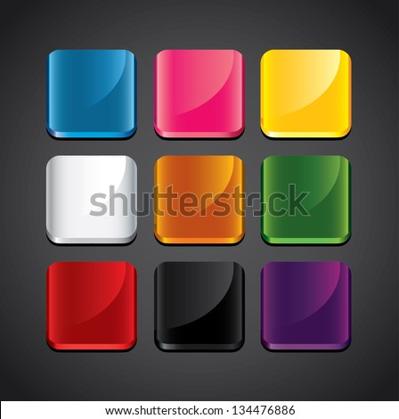 colorful glossy backgrounds for app icons vector set - stock vector