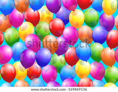 Colorful glossy balloons - Seamless wallpaper can be created. - stock vector
