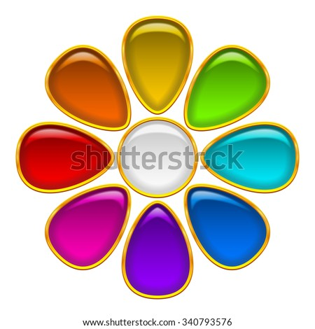Colorful Glossy Button in Shape of Flower with Multicolored Petals and Golden Frames, Computer Icon for Web Design. Eps10, Contains Transparencies. Vector - stock vector
