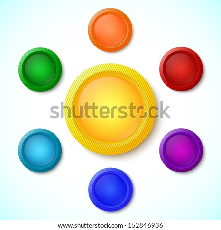 Colorful glossy buttons isolated on white background. Design elements. Vector illustration