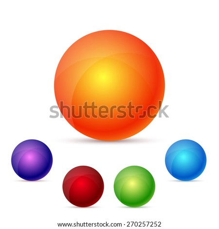 colorful glossy spheres, set, excellent vector illustration, EPS 10 - stock vector