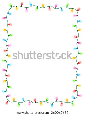 Colorful glowing christmas lights border / frame. Colorful holiday lights illustration - stock vector