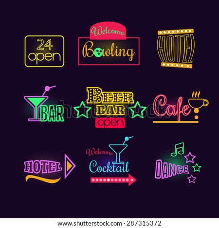 Colorful Glowing Neon Lights Graphic Designs for Cafe and Motel Signs on Black Background - stock vector
