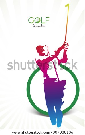 Colorful golf silhouette isolated on white, vector illustration - stock vector