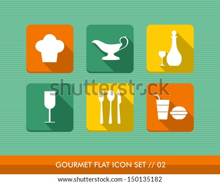 Colorful gourmet restaurant food flat icon set, web app online menu order reservation. Vector file layered for easy editing. - stock vector
