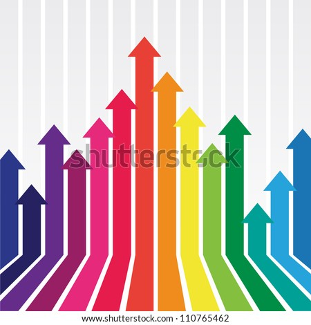 colorful graph with arrow - stock vector