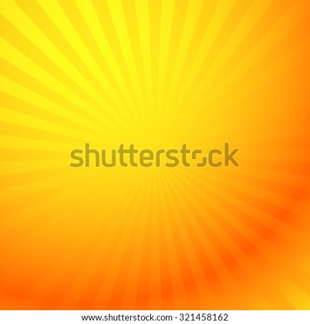 Colorful graphics with rays, beams with radial gradient. Vector. Yellow - Orange version.