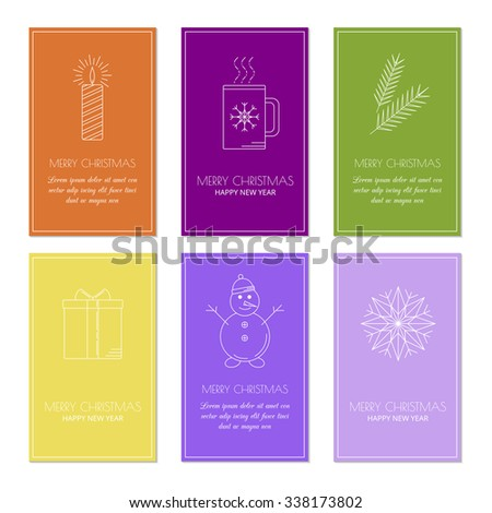 Colorful greeting card templates with linear Christmas icons. Set of Christmas cards with different winter and Christmas symbols. Snowman, candle, snowflake, fir twigs, present box and cup/mug. - stock vector