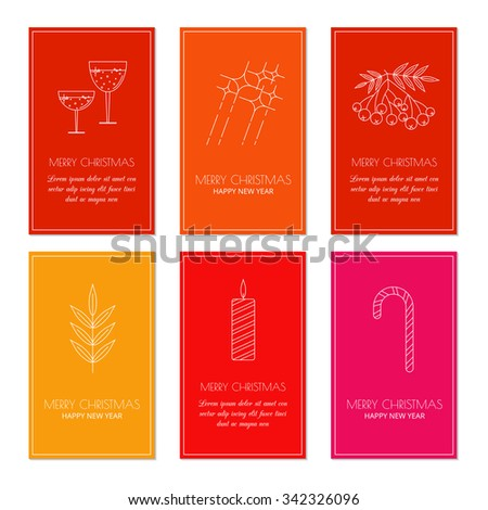Colorful greeting card templates with linear Christmas icons. Set of Christmas cards with different winter and Christmas symbol. Glasses of wine, firework, rowan berry, candy cane, twig, candle. - stock vector