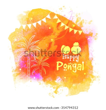Colorful greeting card with sugarcane for South Indian Harvesting Festival, Happy Pongal celebration. - stock vector