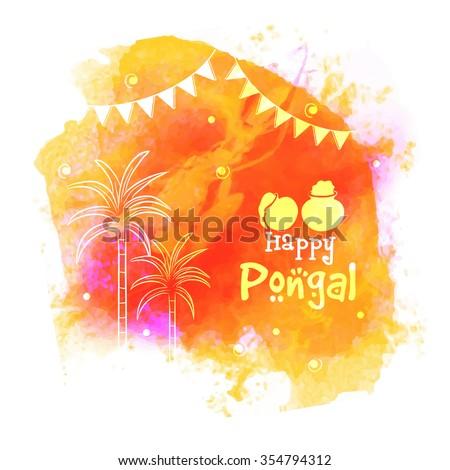Colorful greeting card sugarcane south indian stock vector hd colorful greeting card with sugarcane for south indian harvesting festival happy pongal celebration m4hsunfo