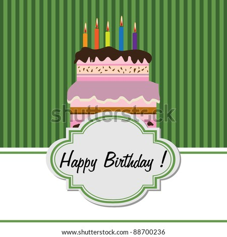 Colorful greeting with delicious cake made for someone's birthday - stock vector