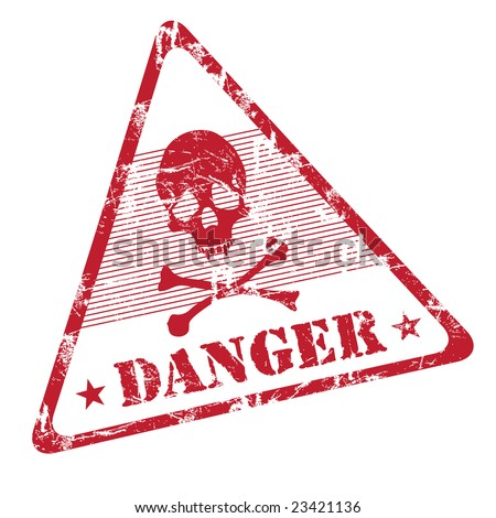 Colorful grunge rubber office stamp with skull shape and the word danger written under the skull symbol. Danger warning - stock vector