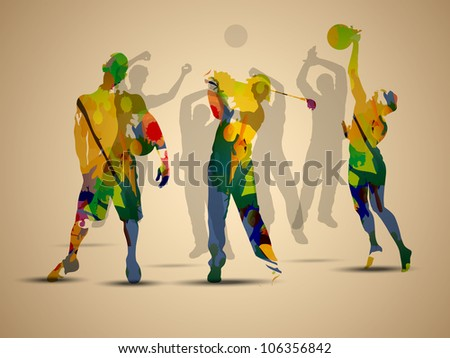 Colorful grungy illustration of football soccer player, basketball player  and golf player on  brown background. - stock vector
