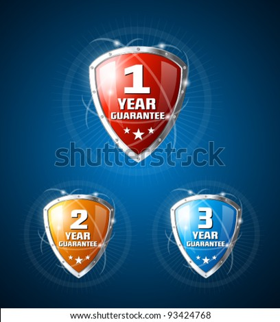 Colorful guarantee label shields on blue background - stock vector