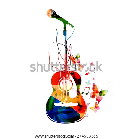 Colorful guitar background - stock vector