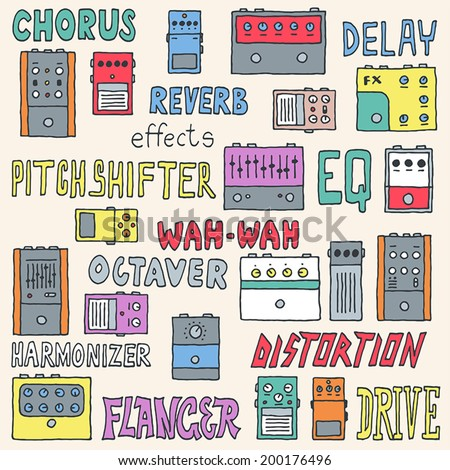 Colorful guitar pedals set. Hand drawn. Vector illustration. - stock vector