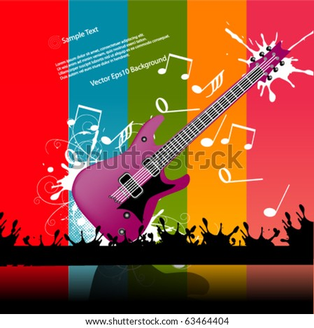 Colorful Guitar Vector Background - stock vector