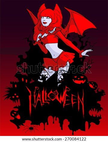 Colorful halloween illustration of a beautiful vampire girl wearing red - stock vector