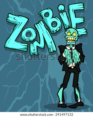 Colorful halloween illustration with the funny cartoon walking zombie character