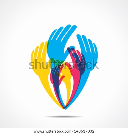 colorful hand background vector - stock vector