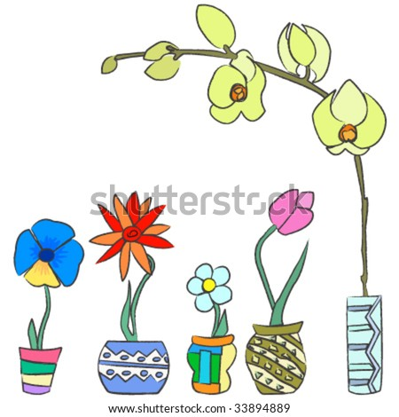 Colorful hand draw spring flowers ceramic stock vector 2018 colorful hand draw spring flowers in ceramic containers mightylinksfo