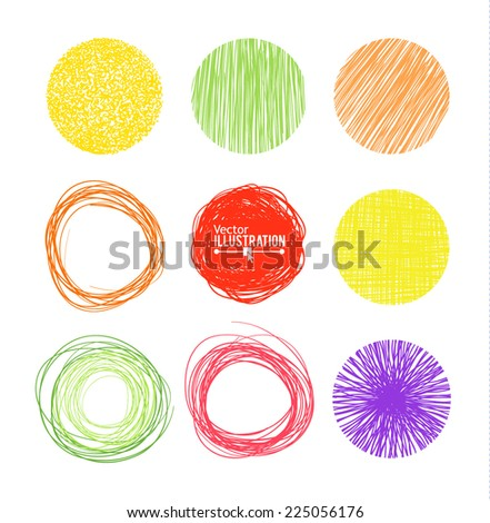 Colorful Hand drawn circle banners. Vector illustration.