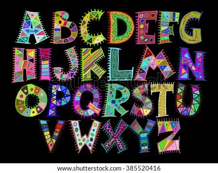 Colorful hand drawn funny ethnic tribal alphabet set - stock vector