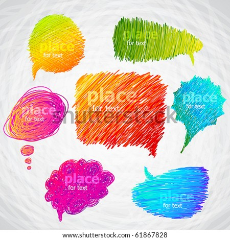 Colorful hand drawn speech and thought bubbles. - stock vector