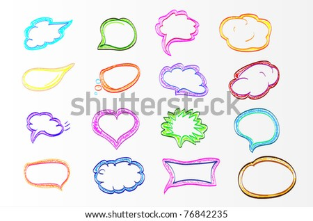 colorful hand drawn speech and thought bubbles - stock vector