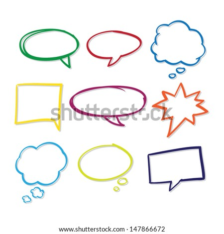 Colorful Hand Drawn Speech Bubbles - stock vector