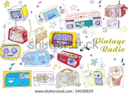 colorful hand drawn vector radios - stock vector