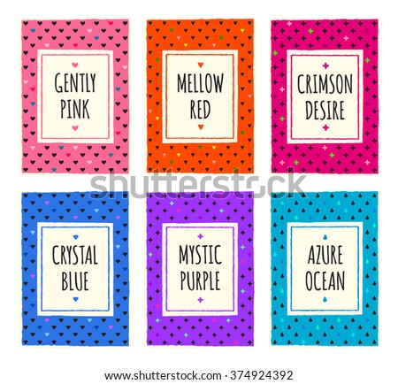 Colorful hand drawn vivid pattern cards set. Cover, label, tag, stickers, brochure title sheet. Template for scrapbooking. Creative design frame. Modern geometric texture background. A4 EPS10 vector. - stock vector