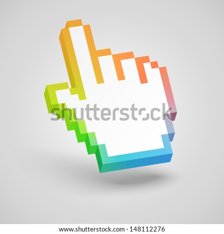 Colorful hand mouse cursor. Vector illustration. - stock vector
