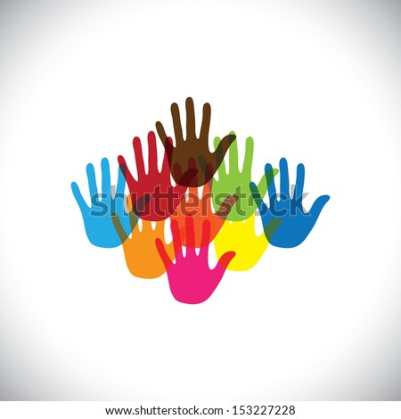 Colorful Hand Palm Icons Signs Symbols Stock Photo Photo Vector