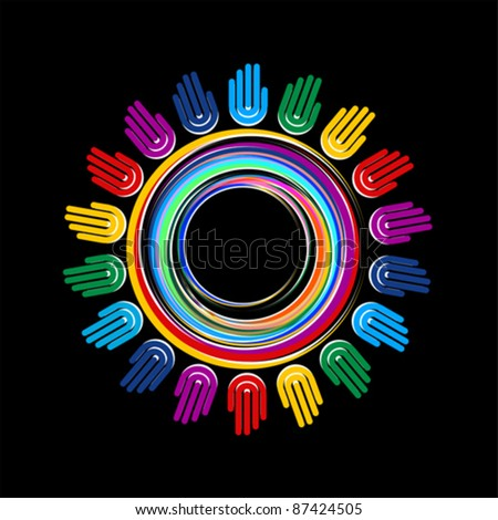 colorful hand planet connection - stock vector