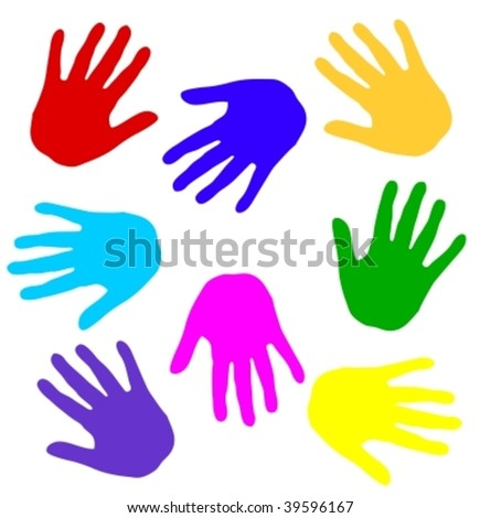 colorful hand print - stock vector