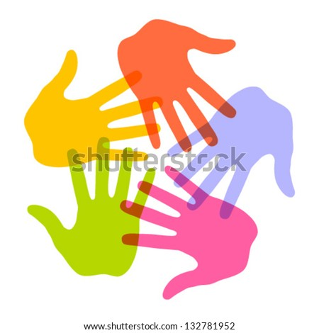 Colorful Hand Print icon 5 colors, vector illustration - stock vector