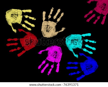 Colorful hand prints isolated on black background, vector illustration - stock vector