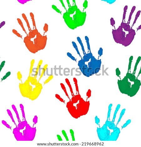 colorful hand prints on white background vector seamless pattern