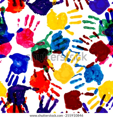 Colorful handprint seamless pattern. Vector, EPS10 - stock vector