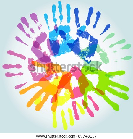 colorful handprint, vector illustration
