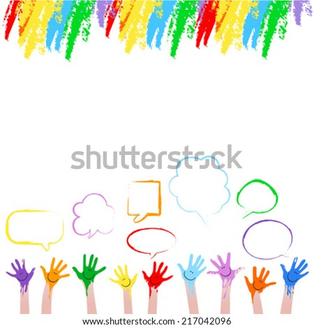 colorful hands  - stock vector