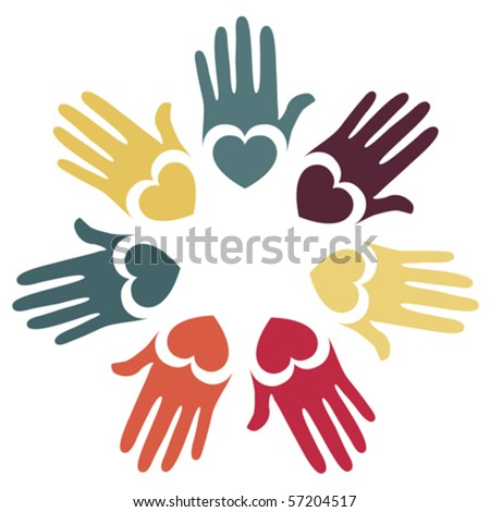 Colorful hands and hearts vector. - stock vector