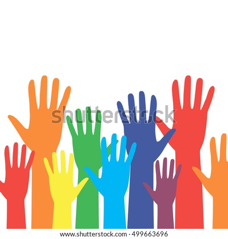 Colorful hands on white background. Vector illustration. Colorful Hand Up.