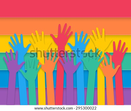 colorful hands raising up with rainbow colors of pride flag. vector.