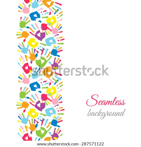Colorful hands. Seamless border background. Vector illustration - stock vector