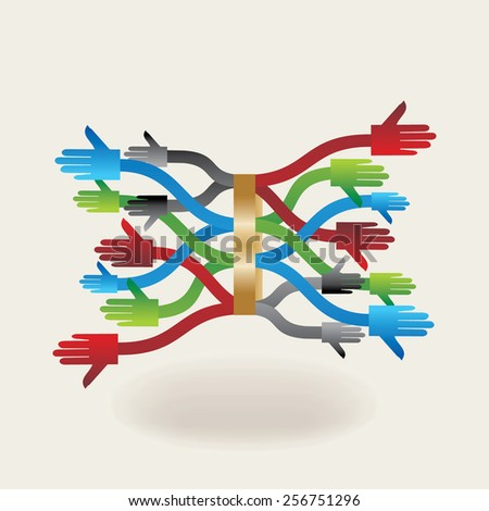 colorful- hands team work concept idea - stock vector