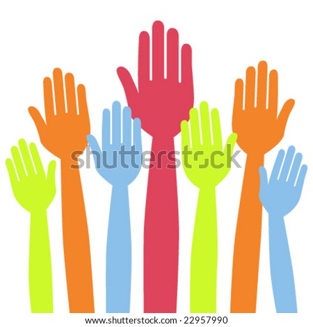 Colorful hands volunteering or voting vector.