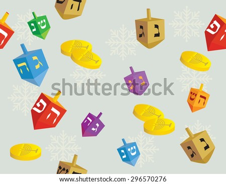 Colorful Hanukkah background of dreidels coins, and snowflakes - Vector illustration - stock vector